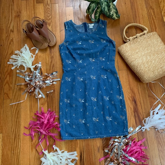 Ice Dresses & Skirts - Vintage Floral Denim Dress